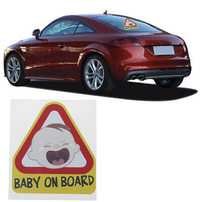 Baby on board child yellow warning car sticker window tail reflective decal^s TS