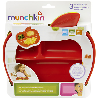 Munchkin Lil' Apple Divided Toddler Plates, 3 Count ~ Brand New in Package