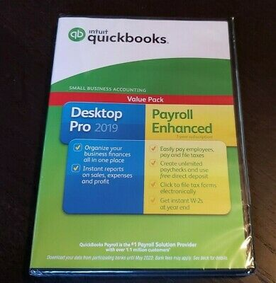 BRAND NEW Intuit Quickbooks Desktop Pro 2019 Retail version w/ DVD Disc Windows