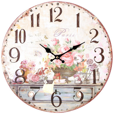 Vintage Inspired French Pink Flowers Kitchen Wall Clock, with Quartz