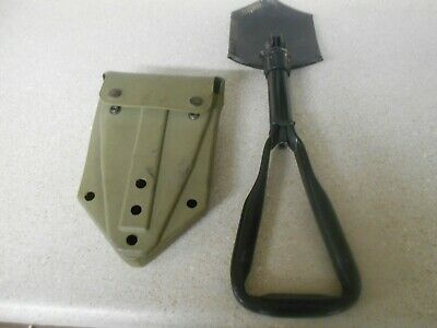 US Military Surplus Folding Entrenching Tool with Vinyl Belt hook Shovel Cover