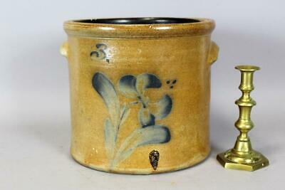 "Rare 19Th C ""j Fisher, Lyons, Ny"" Blue Floral Decorated Stoneware 3 Gal Crock"