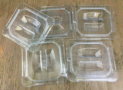 LOT 5 Carlisle Sixth Size Food Pan Cover Lids plastic 1/6th