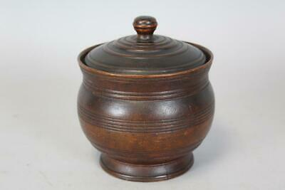 The Best Early 18Th C Turned Maple Covered Sugar Bowl In Original Brown Paint