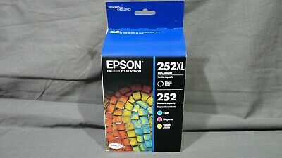 RETAIL BOX WORKFORCE WF-7610 4-PACK Epson GENUINE 252XL Black /& 252 Color Ink