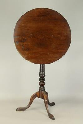 A Great 18Th C Southern States Qa Mahogany Tilt Top Candlestand Original Surface