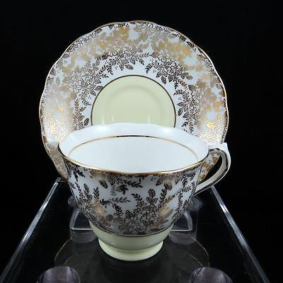 "Colclough England Vintage #6492 Gold Floral & Yellow 2 5/8"" Footed Cup & Saucer"