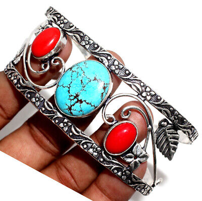 E30868 Turquoise Coral 925 Sterling Silver Plated Bangle Jewelry