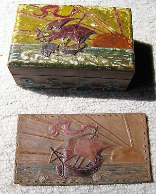 LATE VICTORIAN / EARLY EDWARDIAN BARBOLA GESSO WORK VINTAGE TRINKET BOX and TOOL