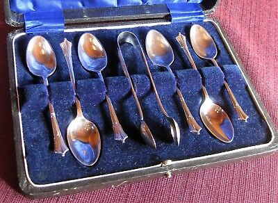 Boxed Set: 6 Teaspoons + Sugar Tongs