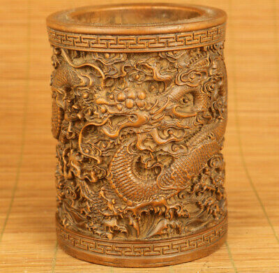 rare old boxwood hand carving dragon statue netsuke brush pot table decoration