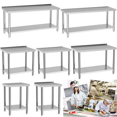 Modern Commercial Stainless Steel Work Bench Kitchen Catering Table Multisize UK