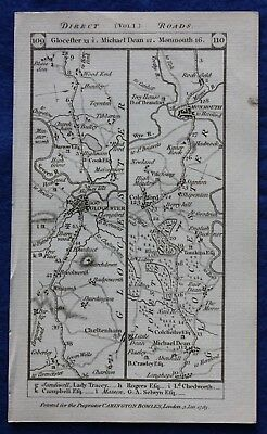 Original antique road map GLOUCESTERSHIRE, MONMOUTH, BRECON, Paterson, 1785