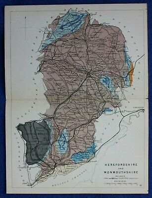 Original antique GEOLOGICAL MAP, HEREFORDSHIRE, MONMOUTHSHIRE, Reynolds, 1864-89