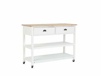Kitchen Trolley Mobile Island on Wheels with Wooden Top and Drawers Navarino