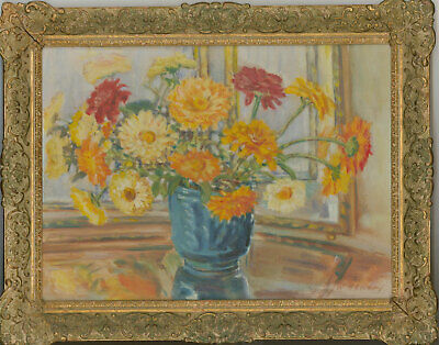 Winnifred A.E. Hendry - Fine Early 20th Century Oil, Marigolds and Zinnias