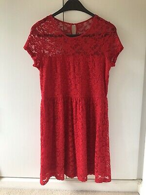 Beautiful Red Lace Party Dress Girls Age 14 Years Worn Once