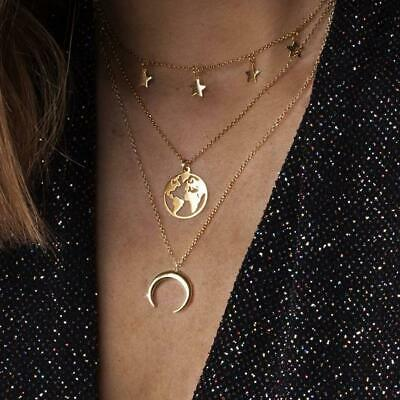 UK PLANET EARTH MULTI LAYER NECKLACE World Map Globe Travel Star Moon Jewellery