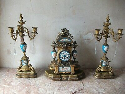 1855 Japy Ferrers Gilt Ornate Chrub adorn Clock & Candlearbras