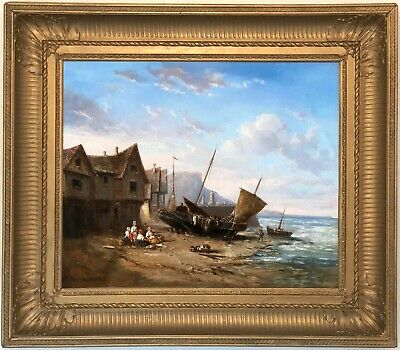 Fisherfolk on Coast Antique Oil Painting Richard Parkes Bonington (1802-1828)