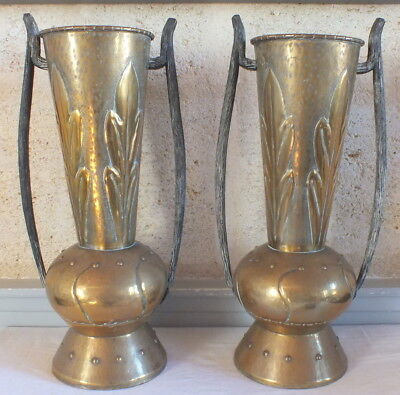 Pair Great Vases Art Nouveau Copper Wrought Iron Brassware Etched 1900