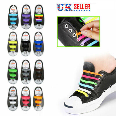 Adults Silicone No Tie Rubber Shoe Laces Colored Shoelaces Trainers Sneakers UK