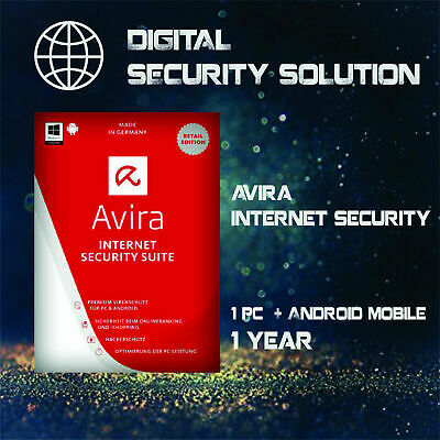 Avira Internet Security Suite 2019 1 PC 1 Year WIN or MAC + 1 Android