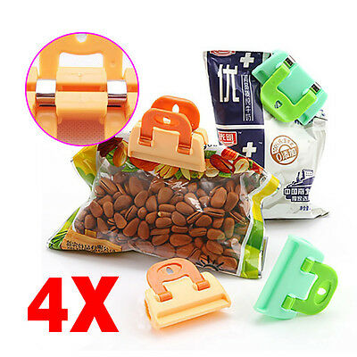Fine Practical Food Sealing Strong Clamp Clip Food Package Bag Clip 4Pcs/Set CN