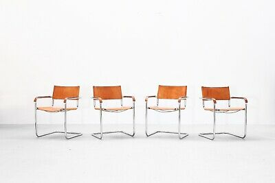 4 beautiful leather dining chairs, 1960s danish design steel