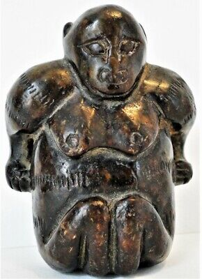 Early Genuine Mayan Pre-Colombian Red Jade Monkey Amulet Figure Rare Circa 1400