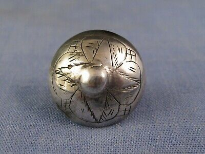 NICE ORIGINAL ANTIQUE CHINESE SILVER BUTTON SIGNED SEWING BOX CRAFT c1850
