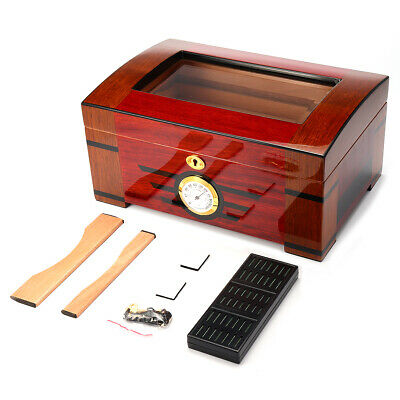 Wood Box Cedar Lined Humidor Humidifier Hygrometer Storage Case