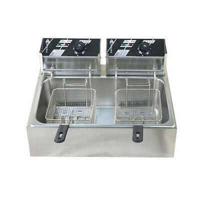 5000W 12L Twin Chef Electric Commercial Deep Fryer Frying Basket Chip Cooker Fry