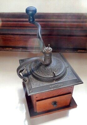 Antique Coffee Grinder Dovetail Wood & Cast Iron Ornate