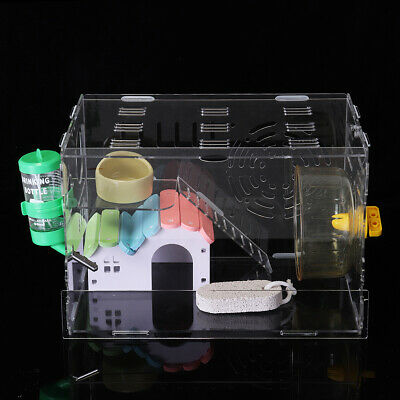 Hamster Acrylic Cage Clear 1 Layer Mice Mouse Castle Rat House Toy Pet Bed Kids