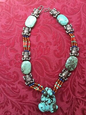 Old Chinese carved Turquoise frog & Carnelian, lapis Bead Silver Necklace