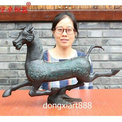 55 cm Chinese ancient Pure Bronze galloping horse of eastern han dynasty Statue