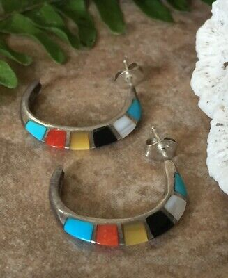Zuni JM Signed Sterling Silver Multi Stone Inlay Earrings Native American