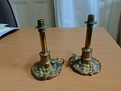 Very rare pair of 1847 Thomas Wharton Patent Victoria Taper Brass Candle Sticks