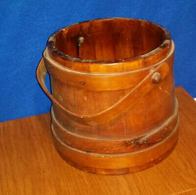 Antique Large Staved 3 Finger Pantry Sugar Bucket Firkin w/Wood Handle SHAKER