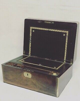 Victorian Walnut Writing Box Brass Inlay & Decoration With Secret Drawers
