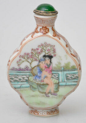 Chinese porcelain Snuff bottle Qianlong Erotic scene and calligraphy. Signed
