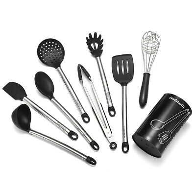 9Pcs/Set Stainless Steel Kitchen Utensils Cooking Non-Stick Baking Tool Silicone