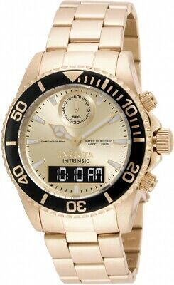 New Mens Invicta 12472 Pro Diver Swiss 43mm Gold Stainless Steel Watch