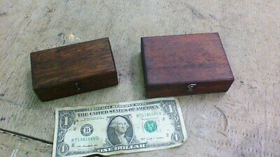 Pair Old Primitive Vintage Antique Wood Small Boxes Compartment Display Trinket