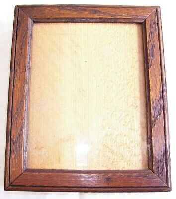 ANTIQUE Lt. VICTORIAN MINIATURE CARVED SOLID OAK PICTURE FRAME OLD GLASS C.1890