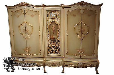 Antique Hand Painted French Provincial Knockdown Double Bombe Armoire Wardrobe