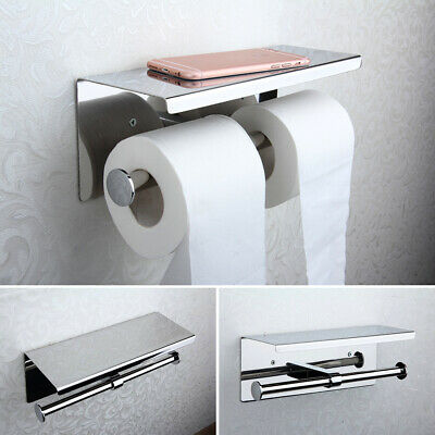 Stainless Steel Toilet Paper Double Roll Holder Bathroom Wall Mount Paper Shelf