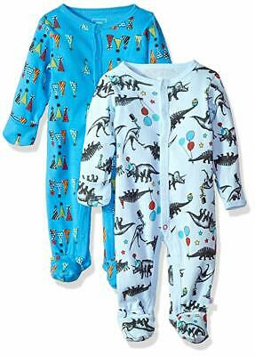 Rosie Pope Baby Boys' Blue Party Animal One Piece Coverall 1412 Size 0-3M
