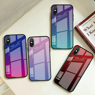 Case for Apple iPhone XS Max XR 7 8 6S Plus Gradient Tempered Back Glass Cover